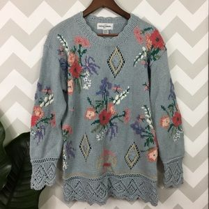 Vintage grandma chunky knit hippie chic sweater